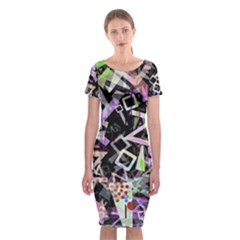 Chaos With Letters Black Multicolored Classic Short Sleeve Midi Dress