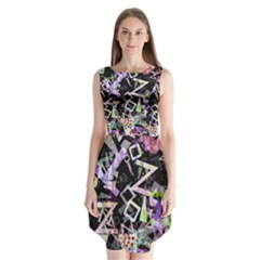 Chaos With Letters Black Multicolored Sleeveless Chiffon Dress