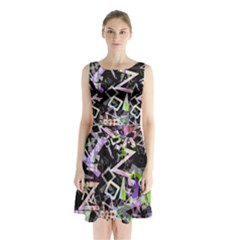 Chaos With Letters Black Multicolored Sleeveless Waist Tie Chiffon Dress