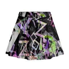 Chaos With Letters Black Multicolored Mini Flare Skirt