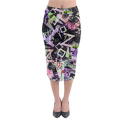 Chaos With Letters Black Multicolored Midi Pencil Skirt