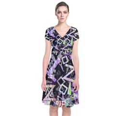 Chaos With Letters Black Multicolored Short Sleeve Front Wrap Dress