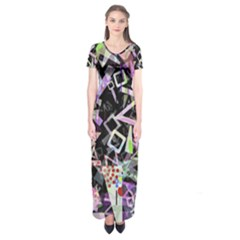 Chaos With Letters Black Multicolored Short Sleeve Maxi Dress