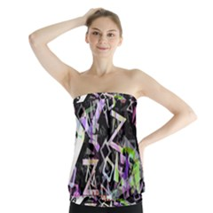 Chaos With Letters Black Multicolored Strapless Top