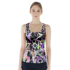 Chaos With Letters Black Multicolored Racer Back Sports Top