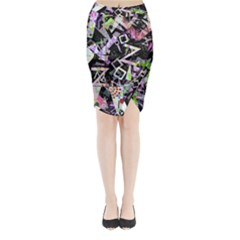 Chaos With Letters Black Multicolored Midi Wrap Pencil Skirt