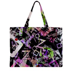 Chaos With Letters Black Multicolored Medium Zipper Tote Bag