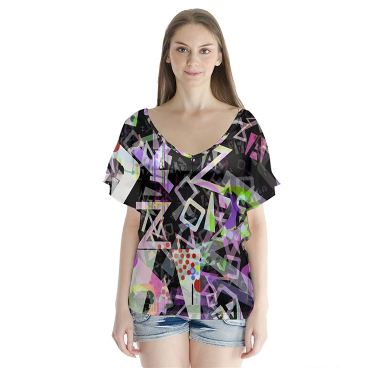 Chaos With Letters Black Multicolored Flutter Sleeve Top