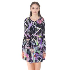 Chaos With Letters Black Multicolored Flare Dress