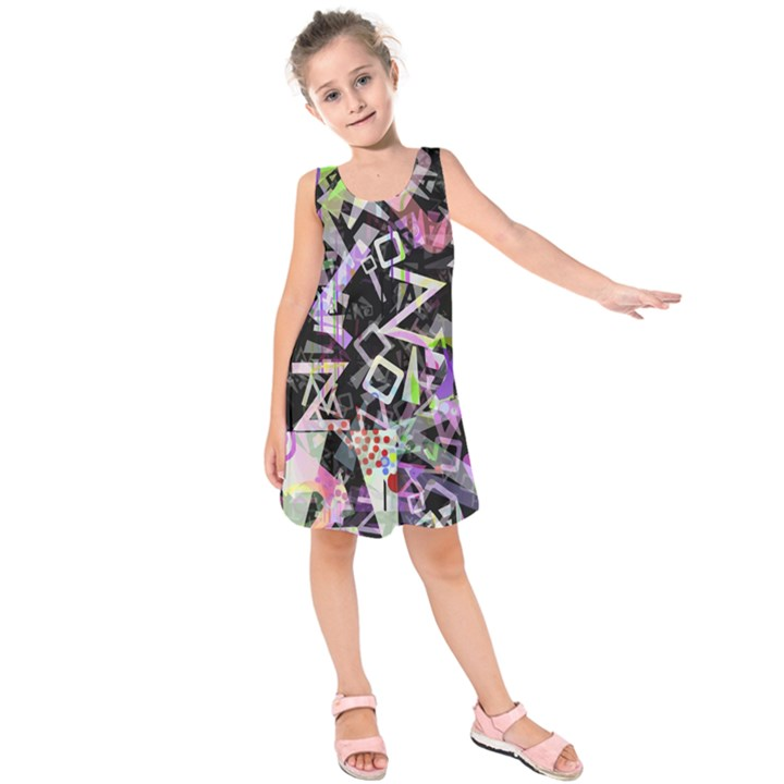 Chaos With Letters Black Multicolored Kids  Sleeveless Dress
