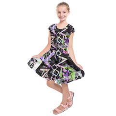 Chaos With Letters Black Multicolored Kids  Short Sleeve Dress