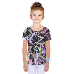 Chaos With Letters Black Multicolored Kids  One Piece Tee