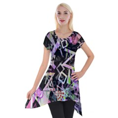 Chaos With Letters Black Multicolored Short Sleeve Side Drop Tunic