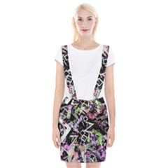 Chaos With Letters Black Multicolored Braces Suspender Skirt