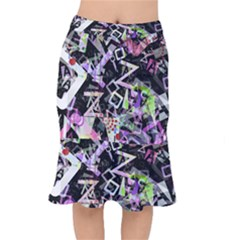 Chaos With Letters Black Multicolored Mermaid Skirt