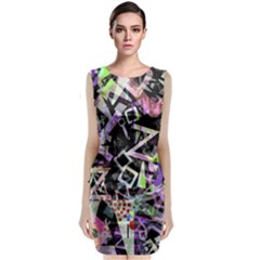 Chaos With Letters Black Multicolored Sleeveless Velvet Midi Dress