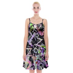 Chaos With Letters Black Multicolored Spaghetti Strap Velvet Dress