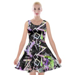 Chaos With Letters Black Multicolored Velvet Skater Dress