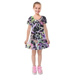 Chaos With Letters Black Multicolored Kids  Short Sleeve Velvet Dress