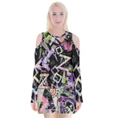 Chaos With Letters Black Multicolored Velvet Long Sleeve Shoulder Cutout Dress
