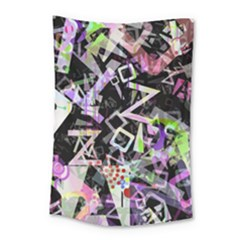 Chaos With Letters Black Multicolored Small Tapestry