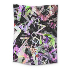 Chaos With Letters Black Multicolored Medium Tapestry