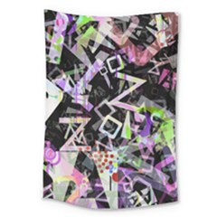Chaos With Letters Black Multicolored Large Tapestry