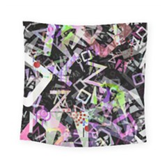 Chaos With Letters Black Multicolored Square Tapestry (small)