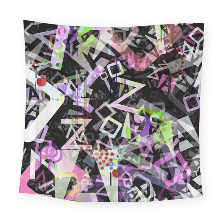 Chaos With Letters Black Multicolored Square Tapestry (Large)