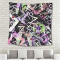 Chaos With Letters Black Multicolored Square Tapestry (Large) View2