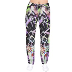 Chaos With Letters Black Multicolored Drawstring Pants