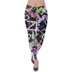 Chaos With Letters Black Multicolored Velvet Leggings