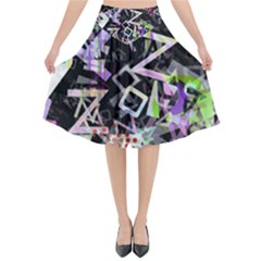 Chaos With Letters Black Multicolored Flared Midi Skirt