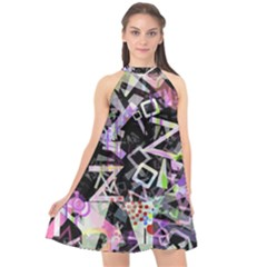 Chaos With Letters Black Multicolored Halter Neckline Chiffon Dress