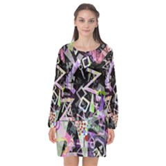 Chaos With Letters Black Multicolored Long Sleeve Chiffon Shift Dress