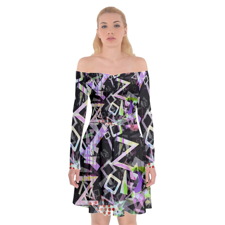 Chaos With Letters Black Multicolored Off Shoulder Skater Dress