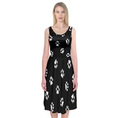 Footprints Cat White Black Midi Sleeveless Dress