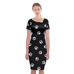 Footprints Cat White Black Classic Short Sleeve Midi Dress