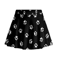 Footprints Cat White Black Mini Flare Skirt