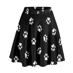 Footprints Cat White Black High Waist Skirt