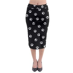 Footprints Cat White Black Midi Pencil Skirt
