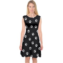 Footprints Cat White Black Capsleeve Midi Dress