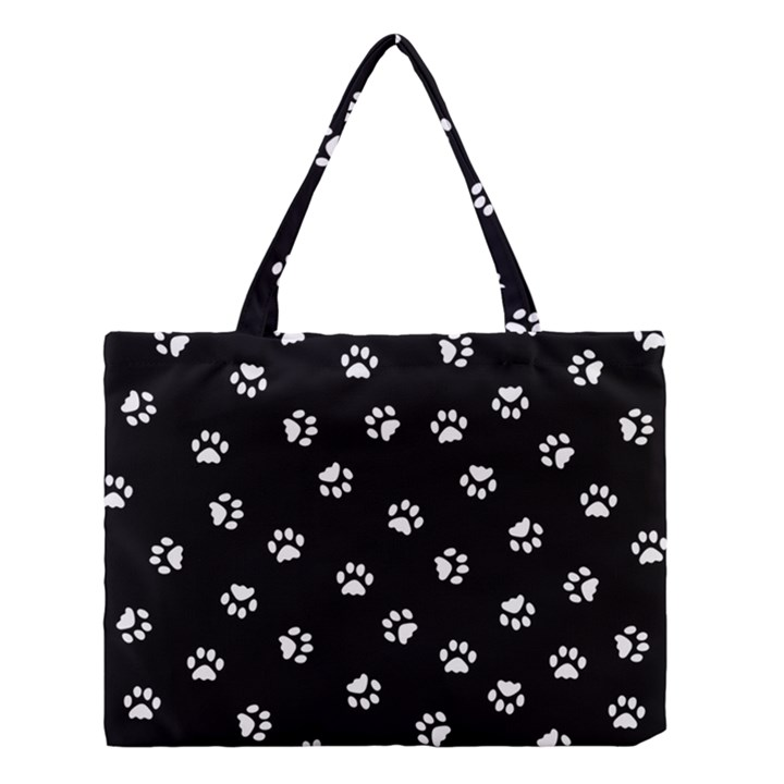 Footprints Cat White Black Medium Tote Bag