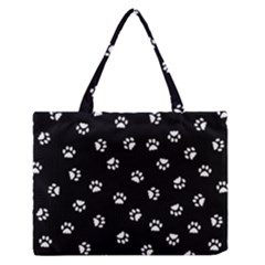 Footprints Cat White Black Medium Zipper Tote Bag