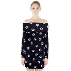 Footprints Cat White Black Long Sleeve Off Shoulder Dress