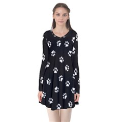 Footprints Cat White Black Flare Dress