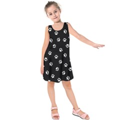 Footprints Cat White Black Kids  Sleeveless Dress