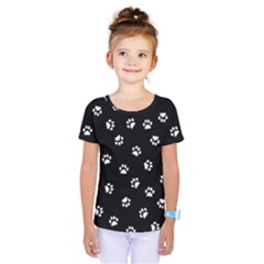 Footprints Cat White Black Kids  One Piece Tee
