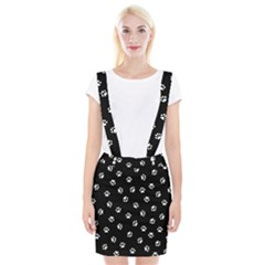Footprints Cat White Black Braces Suspender Skirt