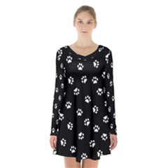 Footprints Cat White Black Long Sleeve Velvet V Neck Dress